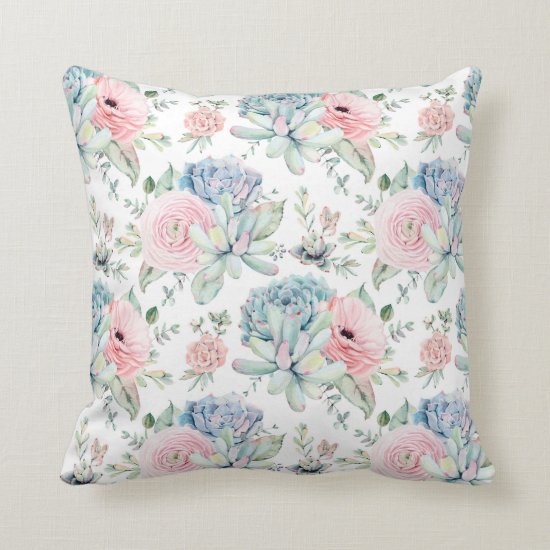 Watercolor Pink Blue Green Succulents Greenery | Throw Pillow