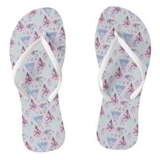 Watercolor Pink & Blue Palm Tree Pattern Flip Flops