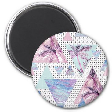 Watercolor Pink & Blue Palm Tree Pattern Magnet