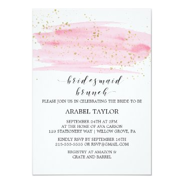 Beach Themed Watercolor Pink Blush and Gold Bridesmaid Brunch Card