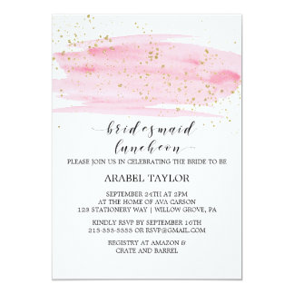 Watercolor Pink Blush and Gold Bridesmaid Luncheon Card