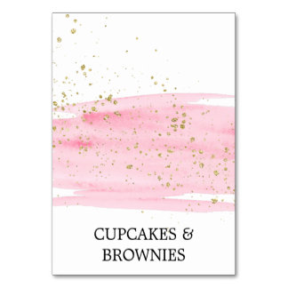 Watercolor Pink Blush and Gold Food Tent Cards