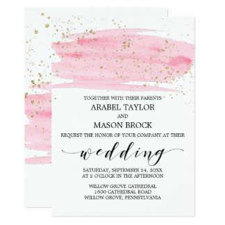 Watercolor Pink Blush And Gold Sparkle Wedding Card