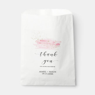 Watercolor Pink Blush and Gold Sparkle Wedding Favor Bag