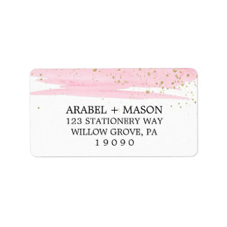 Watercolor Pink Blush and Gold Sparkle Wedding Label