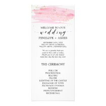 Watercolor Pink Blush and Gold Wedding Program