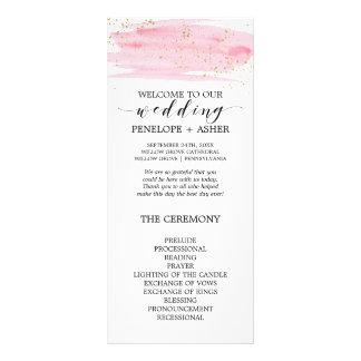Watercolor Pink Blush and Gold Wedding Program