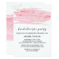 Watercolor Pink Blush & Gold Bachelorette Party Card