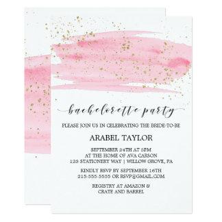 Watercolor Pink Blush & Gold Bachelorette Party Invitation