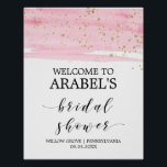 "Watercolor Pink Blush &amp; Gold Bridal Shower Welcome Poster<br><div class=""desc"">This watercolor pink blush &amp; gold bridal shower welcome poster is perfect for a romantic and sweet modern theme bridal shower. The luxurious feminine design features a light pink watercolor texture with a splash of faux gold glitter dust and an elegant calligraphy script font. Customize the poster with the name...</div>"