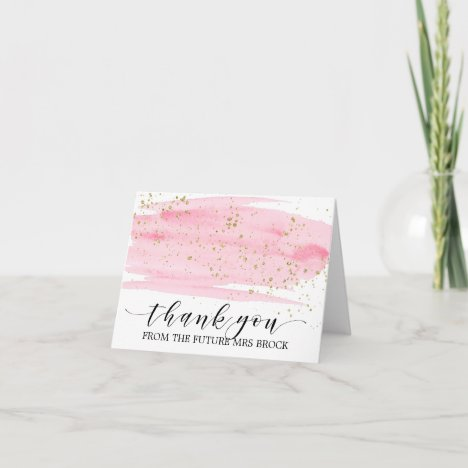 Watercolor Pink Blush & Gold Future Mrs Thank You