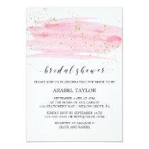 Watercolor Pink Blush & Gold Sparkle Bridal Shower Invitation