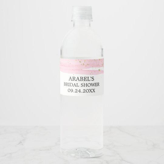 watercolor pink blush gold sparkle bridal shower water bottle label