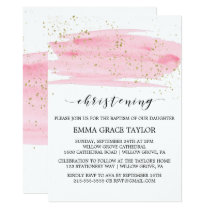 Watercolor Pink Blush & Gold Sparkle Christening Card