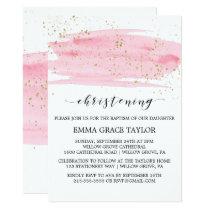 Watercolor Pink Blush & Gold Sparkle Christening Invitation
