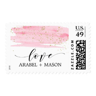 Watercolor Pink Blush & Gold Sparkle Love Wedding Postage