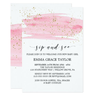 Watercolor Pink Blush & Gold Sparkle Sip and See Card