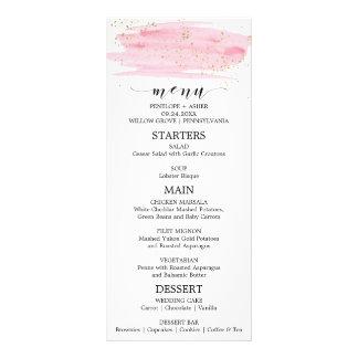 Watercolor Pink Blush & Gold Sparkle Wedding Menu
