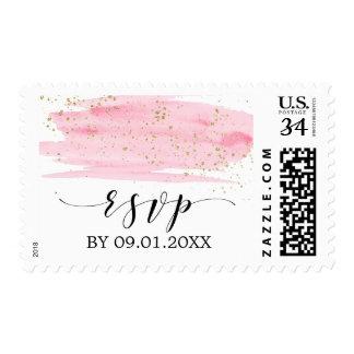 Watercolor Pink Blush & Gold Sparkle Wedding RSVP Postage