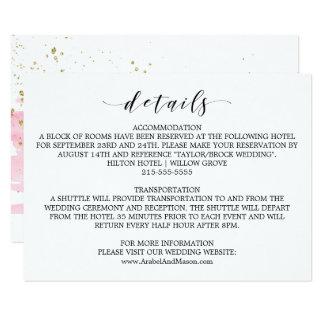 Watercolor Pink Blush & Gold Wedding Details Card