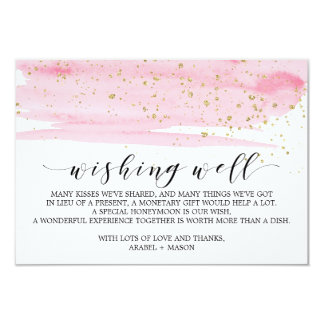 Watercolor Pink Blush & Gold Wedding Wishing Well Card