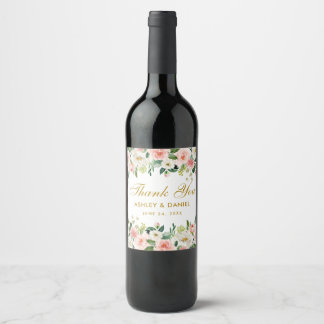 Watercolor Pink Blush White Floral Gold Wedding Wine Label