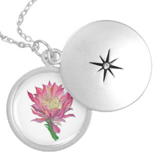 Watercolor Pink Cactus Flower Necklace