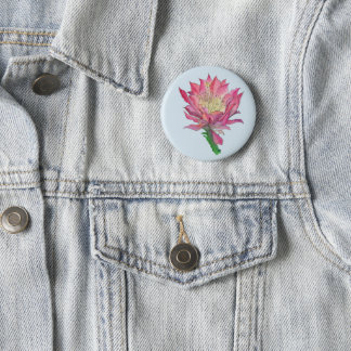 Watercolor Pink Cactus Flower Print Button