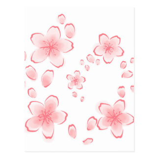 Watercolor Pink Cherry Blossom Postcard