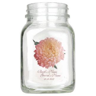 Watercolor Pink Chrysanthemum Wedding Mason Jar