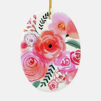 Watercolor Pink Cute Flowers Ceramic Ornament