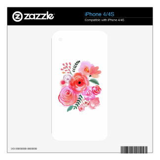 Watercolor Pink Cute Flowers Decals For The iPhone 4S