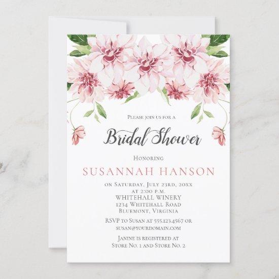 Watercolor Pink Dahlias Bridal Shower Invitation