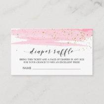 Watercolor Pink Diaper Raffle Invitation Insert