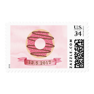 Watercolor Pink Donut Stamp