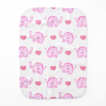 watercolor pink elephants and hearts baby burp cloth