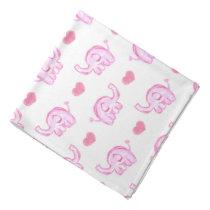 watercolor pink elephants and hearts bandana