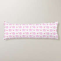 watercolor pink elephants and hearts body pillow