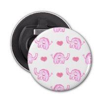 watercolor pink elephants and hearts bottle opener