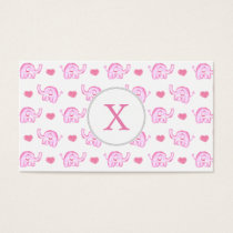 watercolor pink elephants and hearts business card