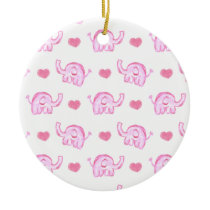 watercolor pink elephants and hearts ceramic ornament