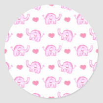 watercolor pink elephants and hearts classic round sticker