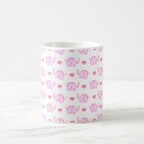 watercolor pink elephants and hearts coffee mug