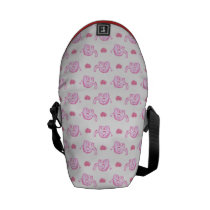 watercolor pink elephants and hearts courier bag