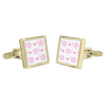 watercolor pink elephants and hearts cufflinks