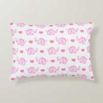 watercolor pink elephants and hearts decorative pillow