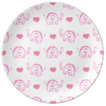 watercolor pink elephants and hearts dinner plate