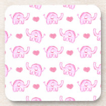 watercolor pink elephants and hearts drink coaster