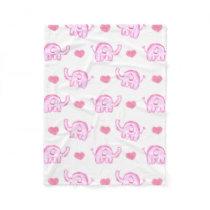 watercolor pink elephants and hearts fleece blanket
