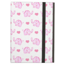 watercolor pink elephants and hearts iPad air cases